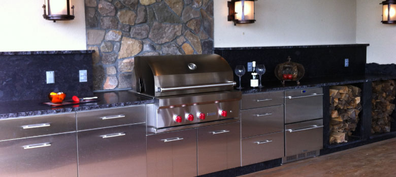 Grill dinner all summer on your outdoor kitchen designed and built by Pemberton Appliance.